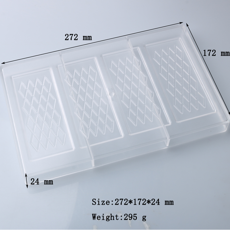 SHENHONG Rhombic Pattern Polycarbonate Chocolate Mold Chocolate Mould PC Fancy Bars Baking Molds Candy Mould in Baking Pastry Tools from Home Garden