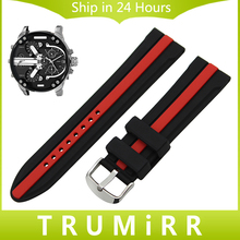 Silicone Rubber Watchband 20mm 22mm 24mm for Diesel Males Girls Watch Band Stainless Metal Buckle Strap Wrist Belt Bracelet Black