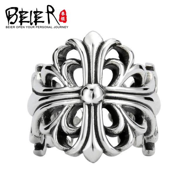 Beier 925 silver sterling jewelry 2015 Simple style irregular cross figure  ring opening  D1152