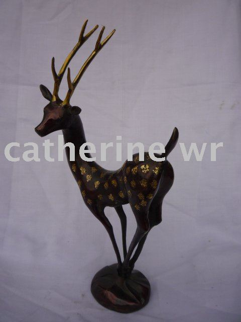 Rare Qing Dynasty  cooper Sika deer Statue/ Sculpture,free shippingRare Qing Dynasty  cooper Sika deer Statue/ Sculpture,free shipping