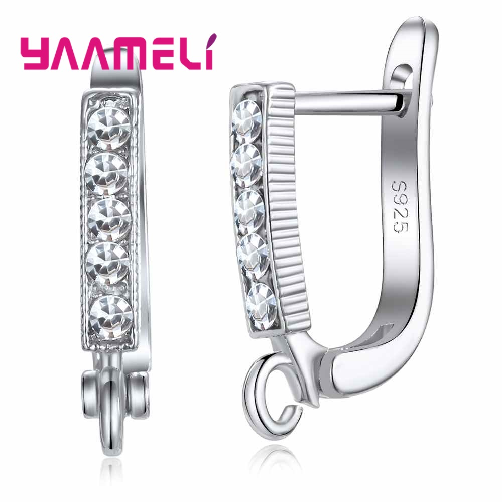 YAAMELI 925 Sterling Silver Leverback Earwire Austrian Crystal Hoop Earring Findings for DIY Jewelry Connector Making Components