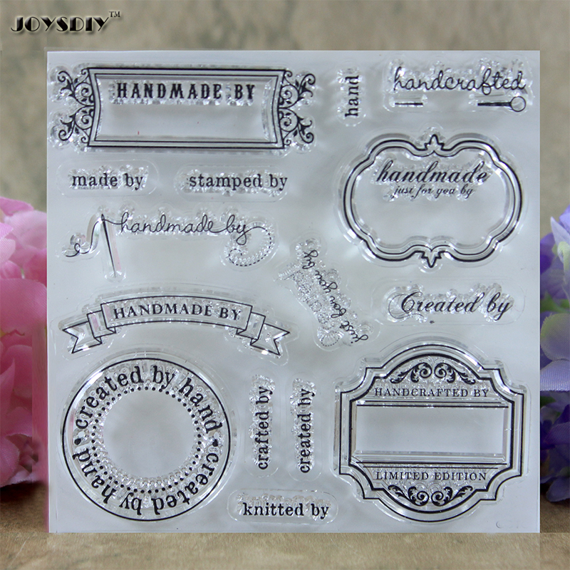 Handmade By Label Created by Label Scrapbook DIY photo cards account rubber stamp clear stamp transparent