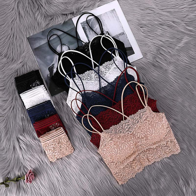 Sexy Lace   Bra     Set   Solid Color Wire Free Back Cross Beauty Back For Women Fashion Comfortable   Bra     Set