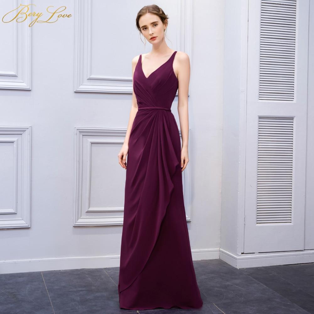 BeryLove Mermaid Purple Slim Evening Dresses 2019 Long V ...