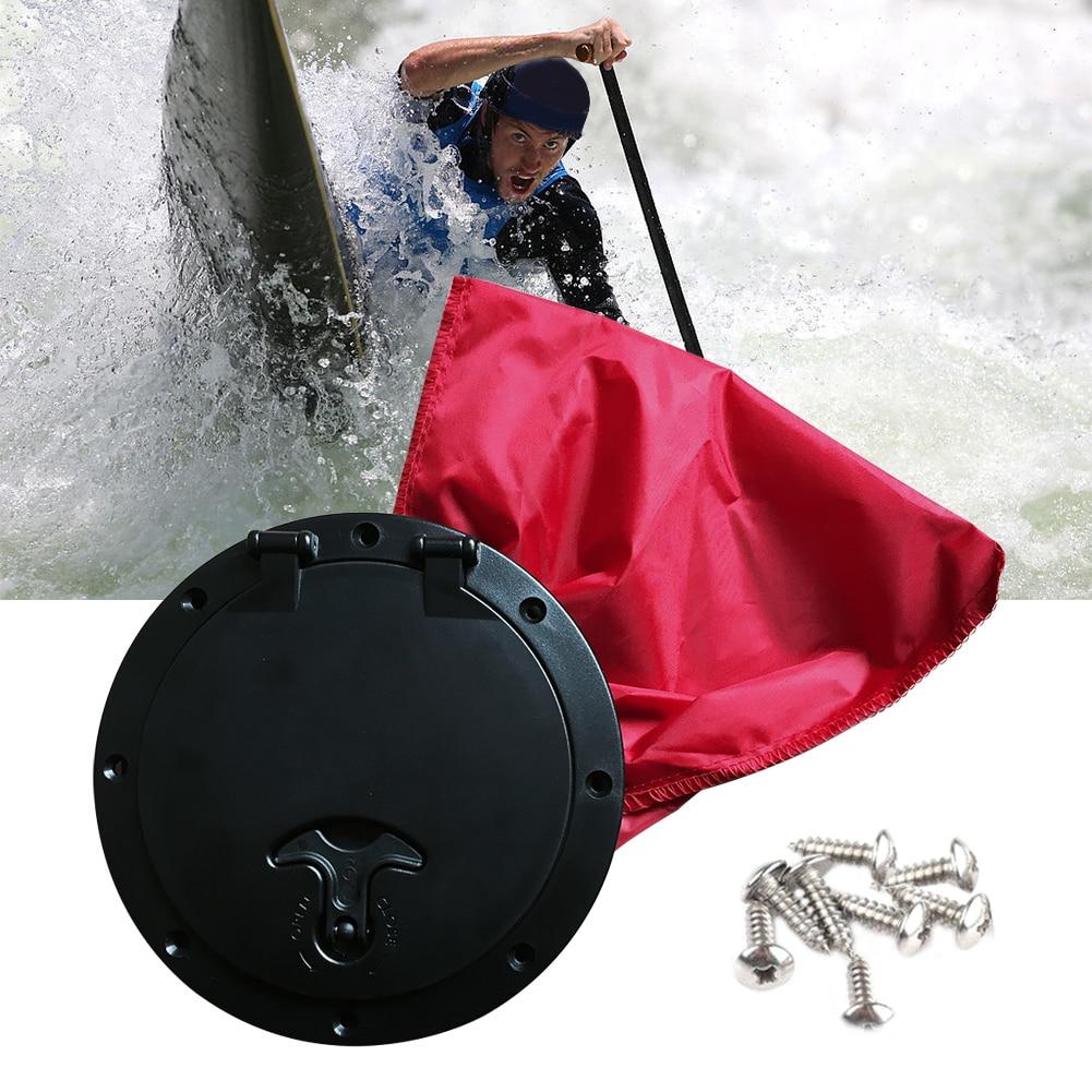 6 Pulgadas Abs Ronda Kayak Barco Escotilla Placa Fácil De Instalar Tornillos Con Rojo Bolsa De Accesorios Marinos Durable Discapacidades Estructurales