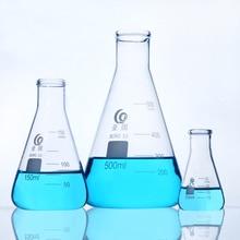 3 יחידות\סט חרוטי זכוכית בקבוק גבוה ורוסיליקט זכוכית Erlenmeyer בקבוק משולש בקבוק מעבדה או מטבח כלים