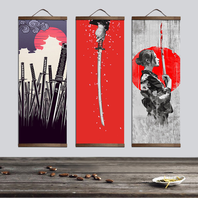 Japanese Style Vertical Canvas Painting