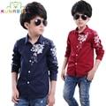 Fashion Boy Shirts Long Sleeve Children Clothing Cotton Floral Pattern Kids Boy Tops School Teenager Clothes Shirts For Boy B027