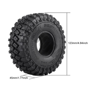 "Image 2 - INJORA 4PCS 123*45MM 1.9"" Rubber Tyre Wheel Tires for 1:10 RC Rock Crawler Axial SCX10 SCX10 II 90046 AXI03007 Traxxas TRX 4"