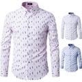 2016 New Mens Formal Business Shirts Casual Slim Long Sleeve Dresse Shirts Camisa Masculina Leisure Shirts Camisa Printed Shirt