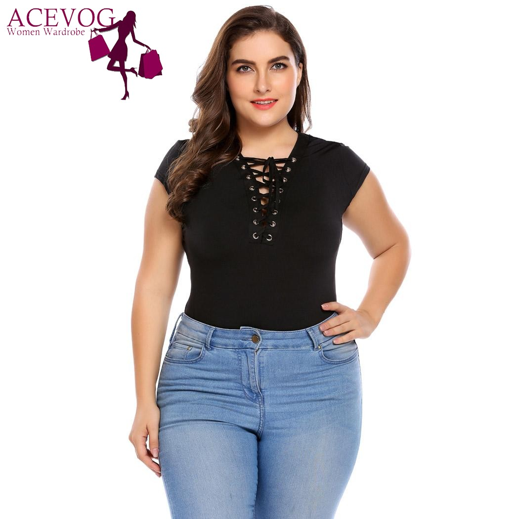 ACEVOG Plus Size Women Sweater Tops Bodysuit XL-4XL Sexy Lace-up Romper Jumpsuit Short Sleeve Playsuit Overall Clubwear Big Size