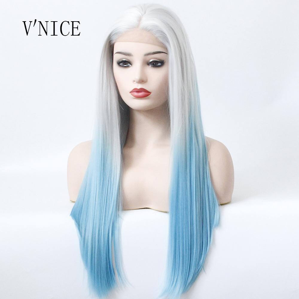 V NICE Silver Grey Root Ombre Blue Long Straight Hairstyle Synthetic Lace Front Wig Hair Light