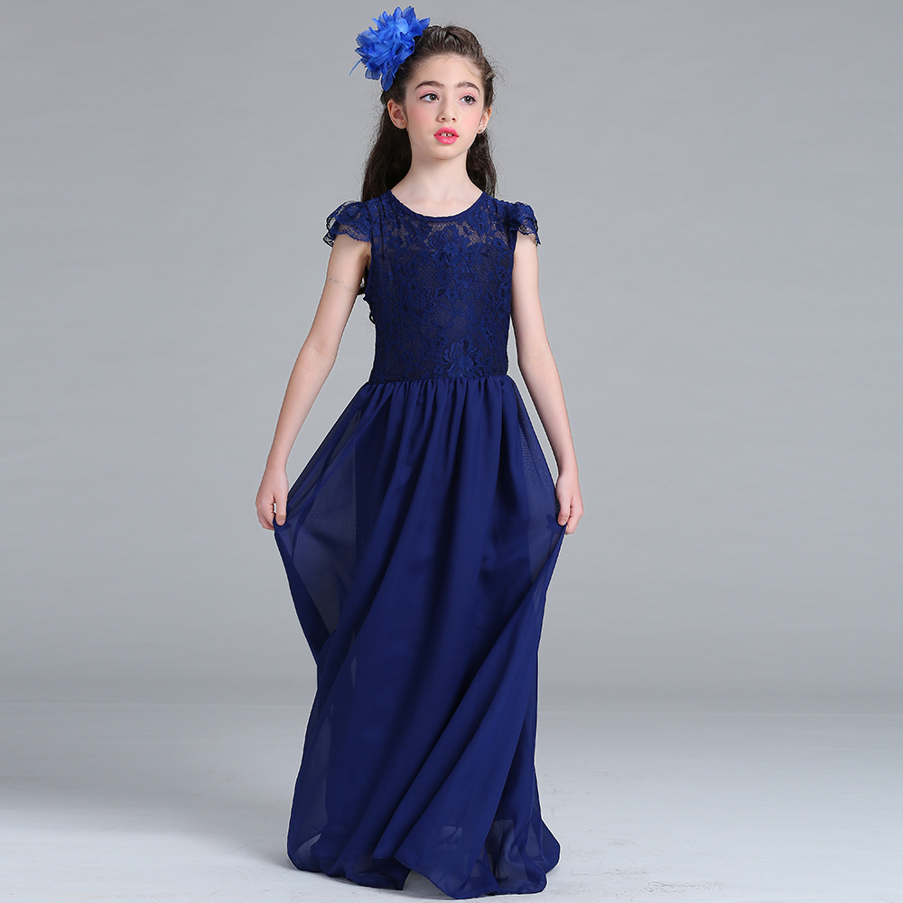 Elegant A-Line Scoop Cap Sleeves Lace Chiffon Pleated   Flower     Girls     Dresses   Cheap Chiffon Lace Little   Girl   Party Gown