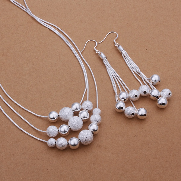 Silver plated refined luxury noble fashion classic spherical Women suit two piece sets hot selling silver jewelry S363