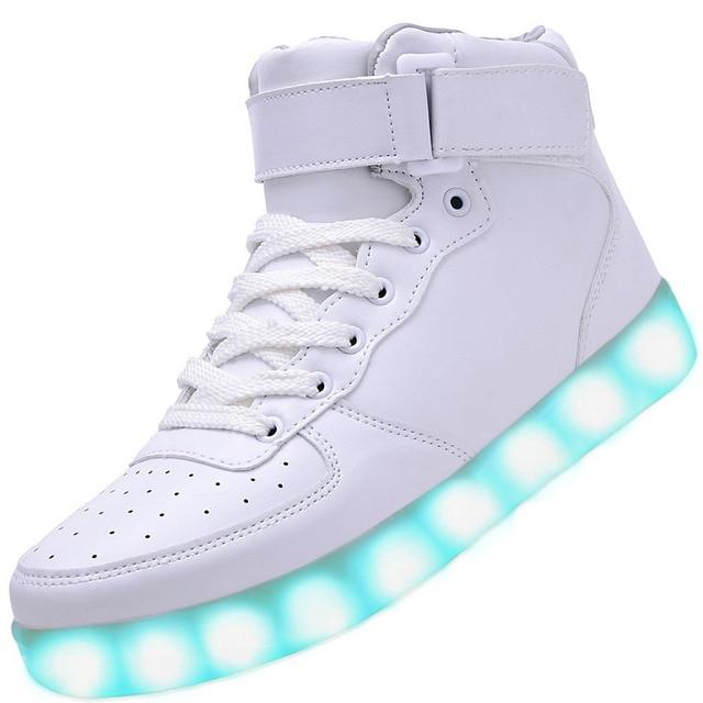 XIWEIHU Men USB Charging High Top Luminous LED Light Shoes 7 Colors Flashing Casual Glowing Light up Shoes for Adults