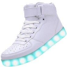 Xiweihu мужчин usb зарядка высокие светящиеся светодиодные обувь 7 цветов мигающий повседневная светящийся light up обувь для взрослых
