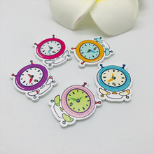 5 Pcs 2 Holes Wood Buttons Craft Scrapbooking Sewing Clothing Accessories Buttons Clock Painted Vintage Crafts