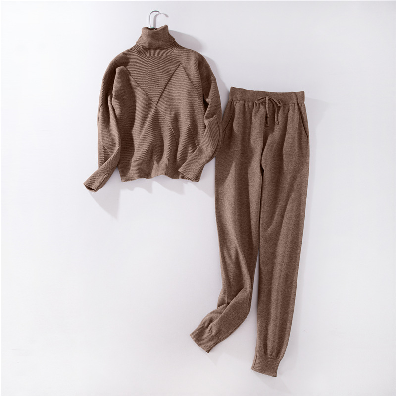 Autumn winter Knitted tracksuit Turtleneck sweatshirts Casual Suit Women clothing 2 Piece set Knit pant Sporting suit Female 5