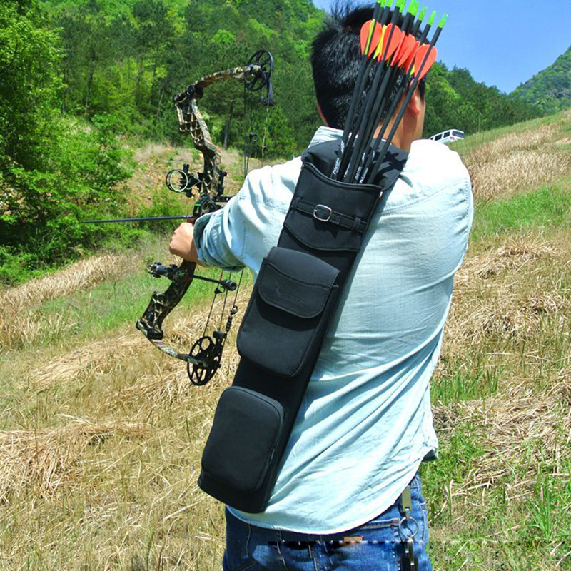 Outdoor Archery Hunting Bow Arrow Holder Belt Bag Arrow Back Quiver Black