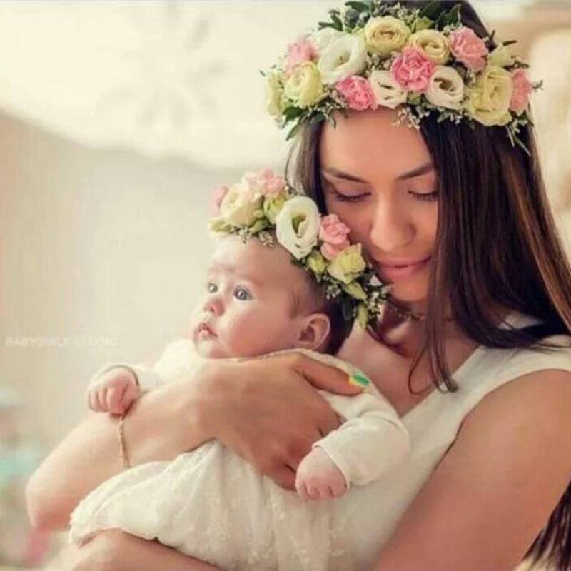 2019 Hot Selling Newborn Rose Flower Garland Chic Wedding Flower Kids And Mother Headband Elastic Hairband Crown Headwear