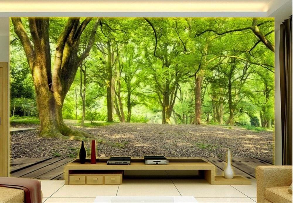 Custom Photo 3d Ceiling Murals Wallpaper Green Forest