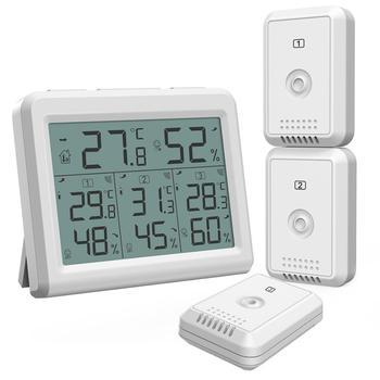 ORIA higrómetro termómetro Digital LCD termómetro interior al aire libre Sensor inalámbrico Monitor de temperatura humedad Control remoto