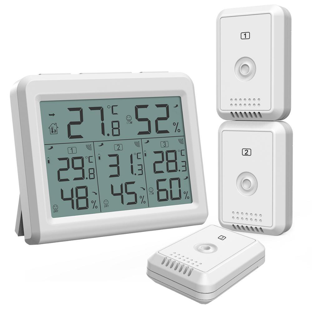 Термометр с гигрометром ORIA, цифровой термометр с ЖК дисплеем,  беспроводной датчик температуры и влажности в помещении, пульт  дистанционного управленияДатчики температуры