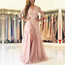 vestido madrinha Split Long Bridesmaid Dresses 2019 3/4 Sleeves Appliques Lace Maid of Honor Country Wedding Guest Gown