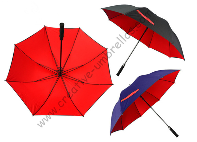 Diameter 130cm golf umbrella visible double layers fabric fiberglass frame,auto open Pongee,anti static,windproof ,canopy