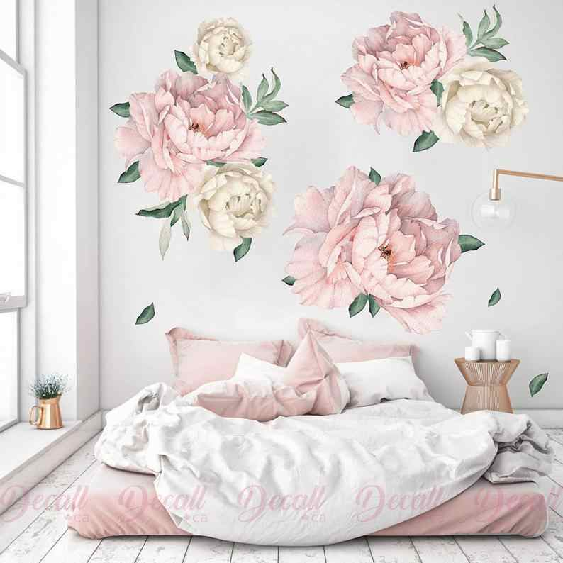Peony Flower Wall Stickers Vintage Watercolour Peel and Stick Reusable Wall Sticker Removable Wall Decals Reusable Fabric decor