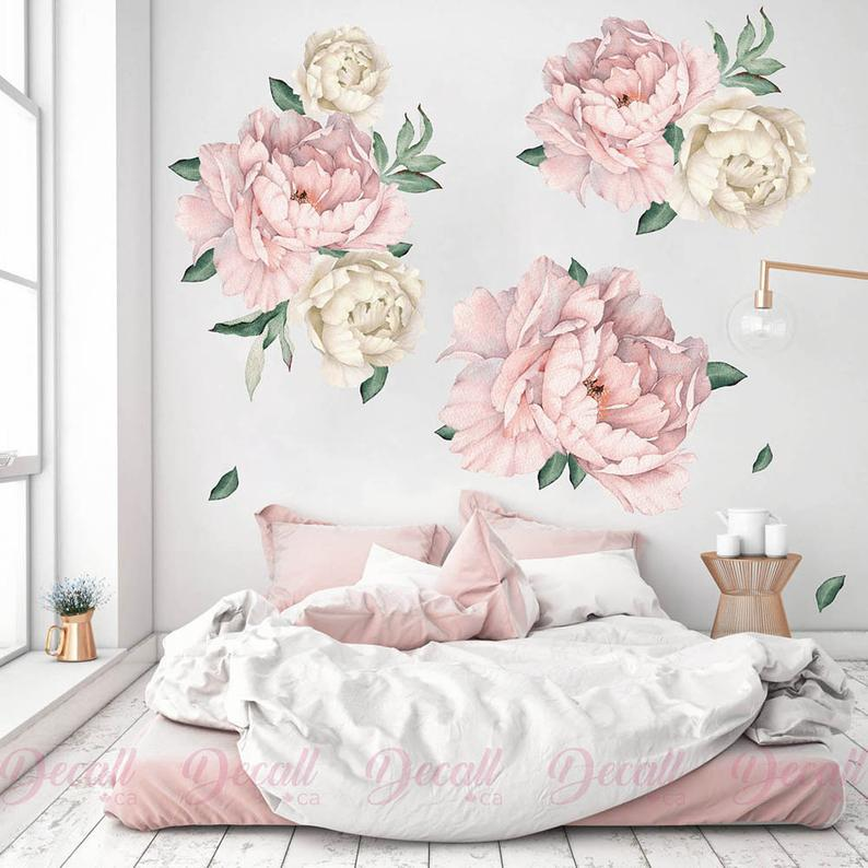 Floral Wallpaper Peonies Wall Sticker Decal Watercolor Wall Sticker Repositionable Wall Mural Peel Stick Removable Self Adhesive Wallpaper Wall Decals Murals Home Living Kromasol Com