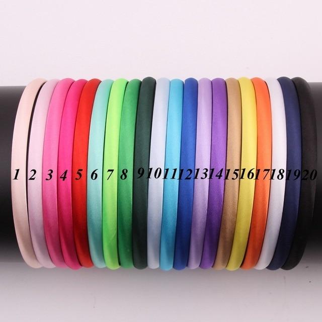 Mengna 60pc 20 cores 10mm meninas sólido cetim capa hairband crianças plain sólida meninas cetim headband diy