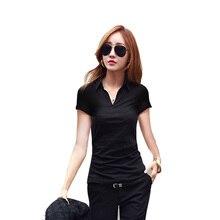 2017 Casual Women Summer Polo Shirt Short Sleeve Solid Black v neck sexy Slim Polos T ShirtsTops Fashion Plus Size Femme tshirt