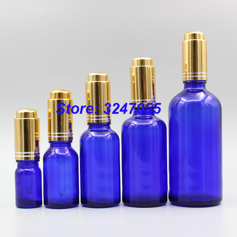 5/10/15/20/50/100ml Empty Professional Essential Oil Bottle, Glass Blue Dropper Bottle n Gold Pump Pipettes, Essence Containers 20 100pcs 18 410 bamboo gold silver essential oil press pump cap dropper essence liquid cover without glass pipette and bottle