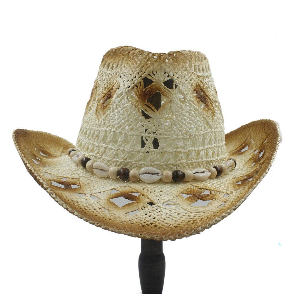 2017 wanita pria Berongga Jerami Western Cowgirl Cowboy Hat Pria Musim  Panas Jazz Topi Sombrero Pantai Shell Ayah Matahari hat di dari  AliExpress.com ... 1f29cd06cb