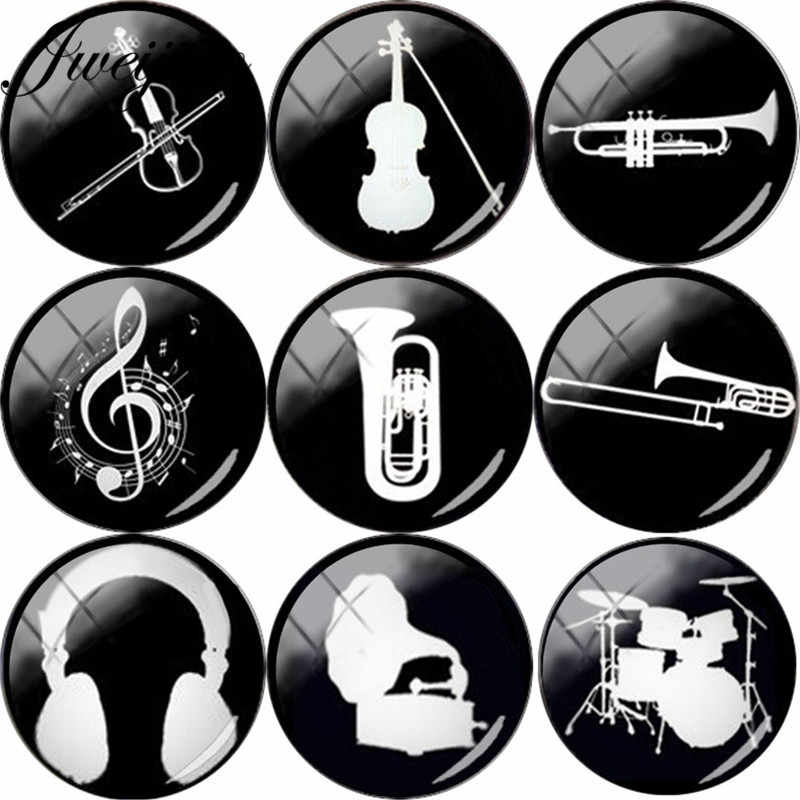 JWEIJIAO Music Instrument Guitar Violin Trumpet Rock Drum Silhouette Glass Cabochon Photo Dome Demo Flat Back Making Findings