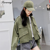 Women Vintage solid punk button Embroidery Amy Green Jackets Coat Pockets Button Turn down Collar 2018 Streetwear style