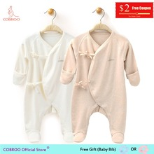 COBROO Newborn Baby Girl Boy Underwear Footies Infant Jumpsuit with Mitten Clothes for 0-3 Months NY550014
