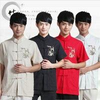 Kurzarm Traditionelle Chinesische Kleidung Für Männer Tang Kleidung Roten Drachen Kung Fu Kostüm Stehkragen Cheongsam Tops 16