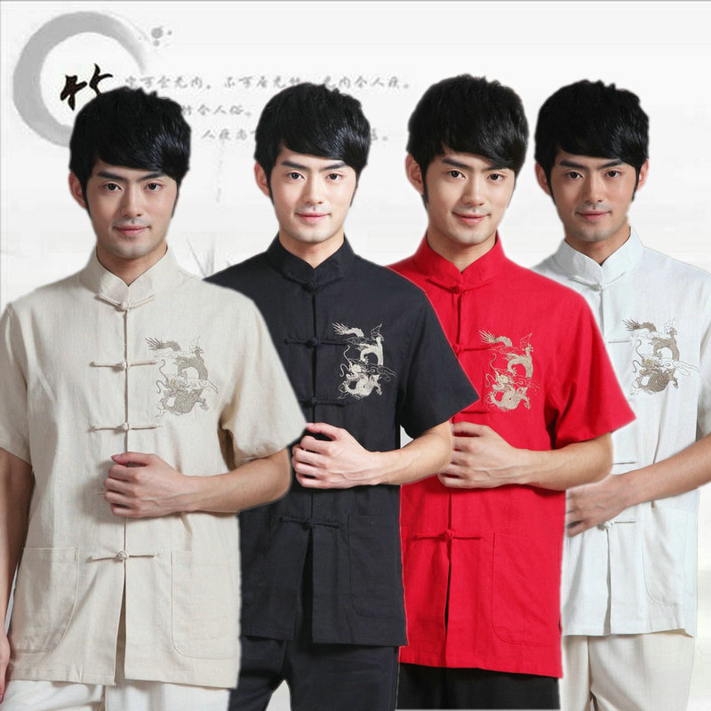 Short Sleeve Traditional Chinese Clothing For Men Tang Clothes Red Dragon Kung Fu Costume Stand Collar Cheongsam Tops 16