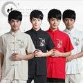 Vestuário Tradicional Chinesa Para Os Homens de Manga curta Roupas Tang Kung Fu Dragão Vermelho Traje Cheongsam Gola Tops 16