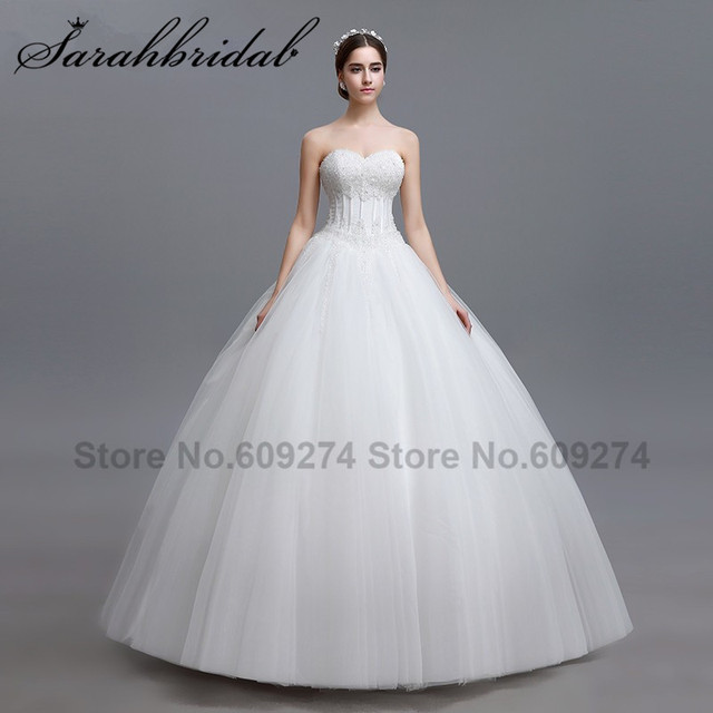 3173ae443330 Country Western White Beaded Wedding Dresses 2016 Fashionable Garden Ball  Gown Bridal Wedding Gowns Vestidos De Novia LGM12
