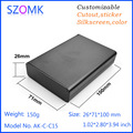 1 unid, 26*71*100mm szomk caja de aluminio del amplificador negro caja de extrusión de aluminio caja de proyecto carcasa de aluminio eléctrica