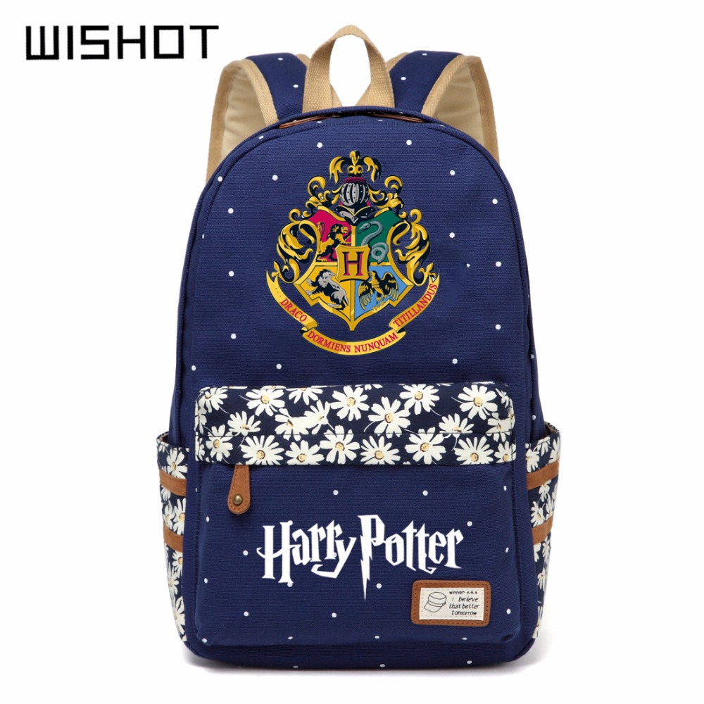 Wishot Harry Potter Canvas Bag Flowers Wave Point Rucksacks Backpack Girls Women Student School Bags Travel Shoulder Bag Bookbag