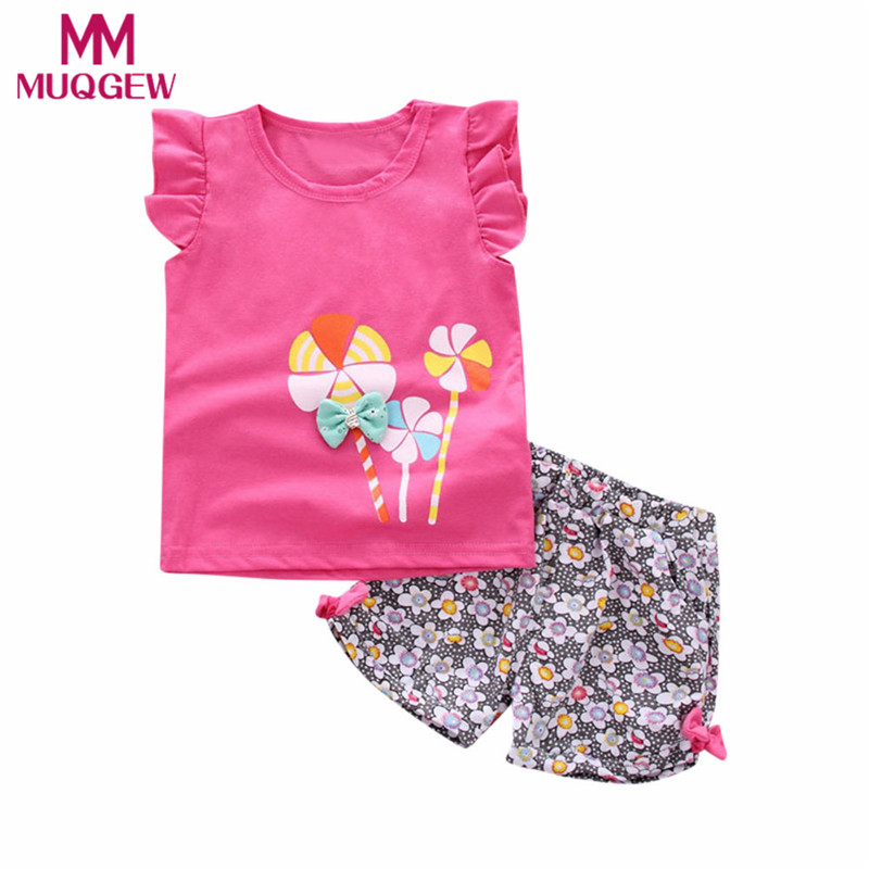 MUQGEW Toddler Kids Baby Girl Lolly T Shirt Tops+Floral Shorts Pants Outfit Clothes Set unicorn pajamas for girls top ropa mujer flower sleeveless vest t shirt tops vest shorts pants outfit girl clothes set 2pcs baby children girls kids clothing bow knot