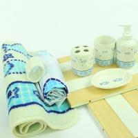 Light blue ocean ceramic bath room supplies set cartoon shukoubei dollarfish shower curtain mats home