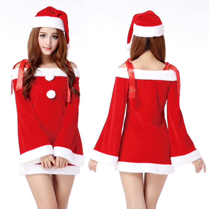 a4518ee2d90 Hot Sexy Rouge Traîneau Bombasse Manches Longues Santa Costume Femmes Fête  De Noël Costume Y Compris Rouge Santa Chapeau Nouvelle Année Un taille