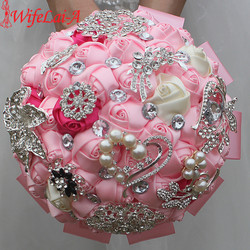 Wifelai a 1piece exquisite pink ivory rose flowers silk brooch bridal bouquets diamonds stitch wedding decoration.jpg 250x250