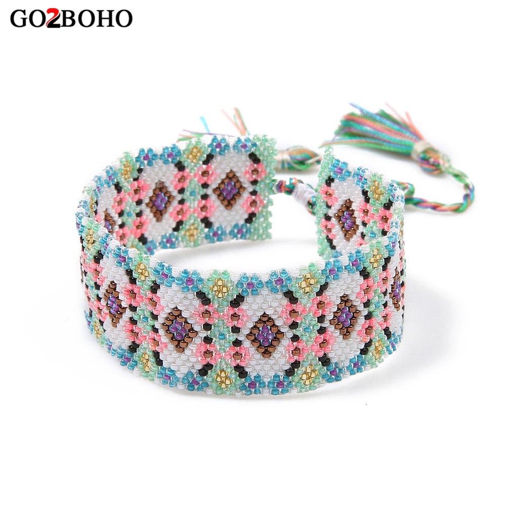 Go2boho Drop-חינם ספק קאף צמיד קסם צמידי מיוקי זרע חרוזים נול Weave Boho אתני נשים תכשיטי לב מתנות