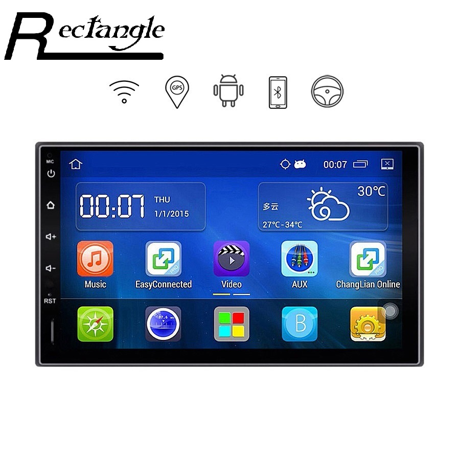 imágenes para 7 Pulgadas 2 Din Car Dvd Player GPS de Navegación WiFi Android 5.1.1 quad core 1024*600 car multimedia player para honda ford Peugeot